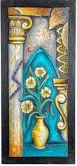 "Mangala Art Flower Vase Mural Work Wall Decor Without Frame - 40x84cms (16""x33"")"