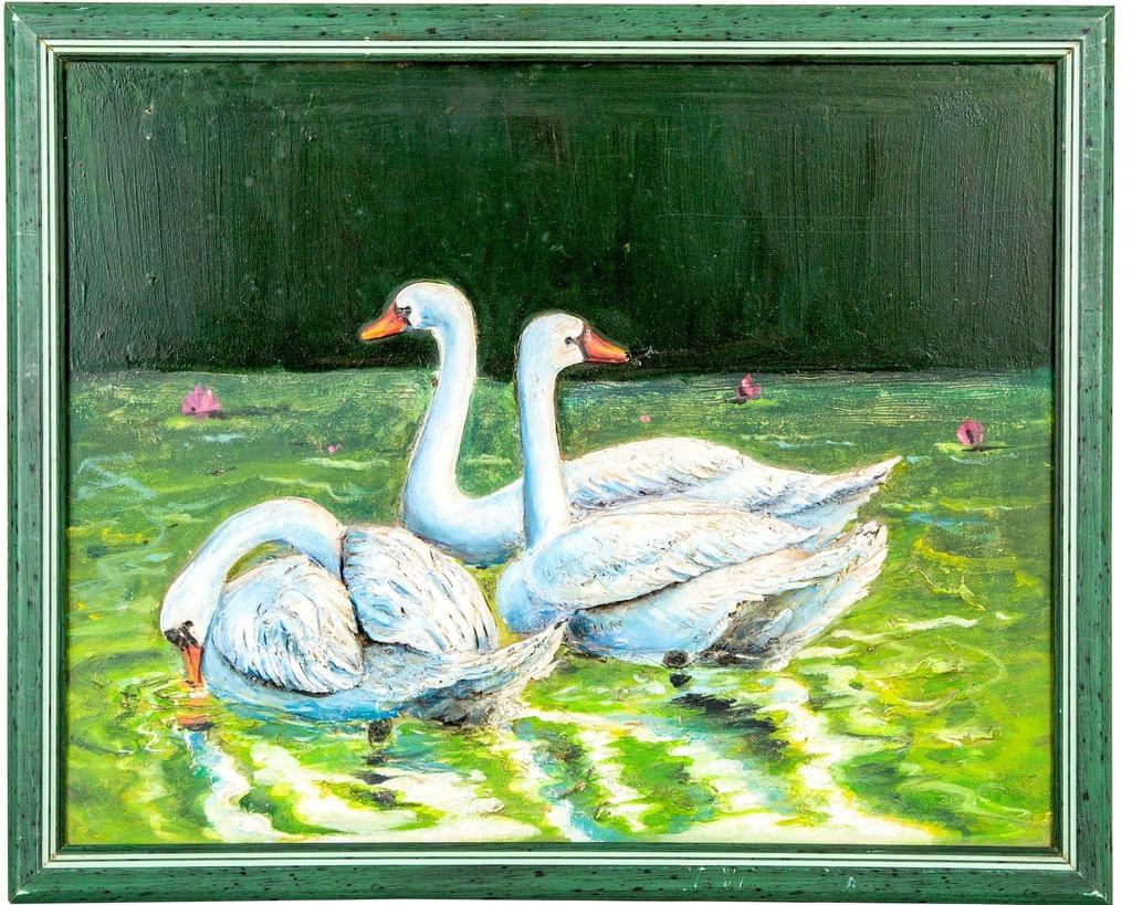 Mangala Art Swan Mural Work, Size:17x13, Color:Multi