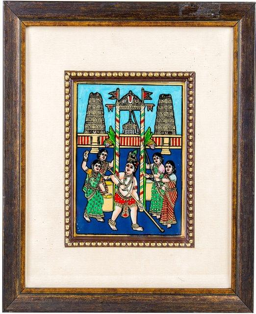 Mangala Art Uriyadi Krishna Tanjore Glass Painting, Size:5x4inches, Color:Multi