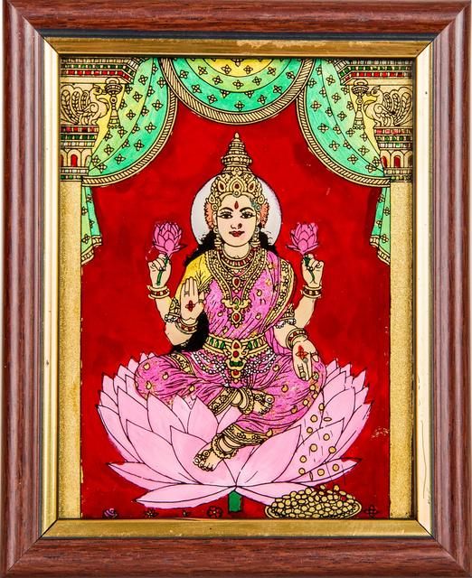 Mangala Art Lakshmi Tanjore Glass Painting, Size:5x4inches, Color:Multi