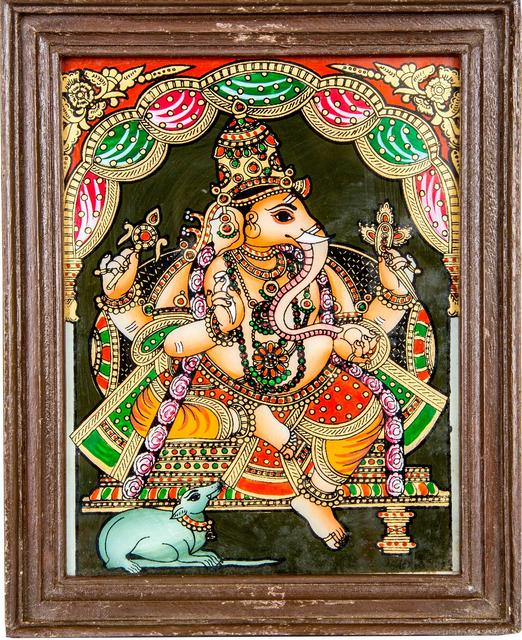 Mangala Art Ganesha Tanjore Glass Painting, Size:9x6inches, Color:Multi
