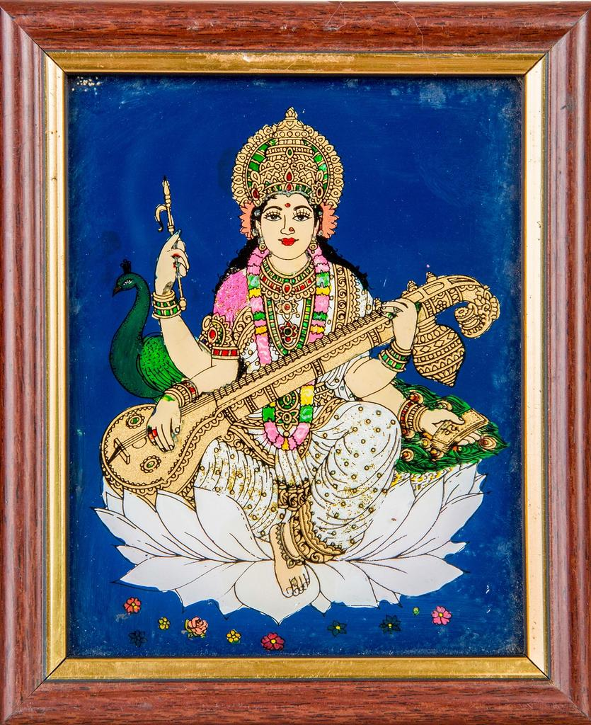 Mangala Art Sarawathi Tanjore Glass Painting, Size:5x4inches, Color:Multi