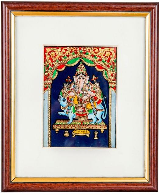Mangala Art Ganesha Tanjore Glass Painting, Size:5x4inches, Color:Multi