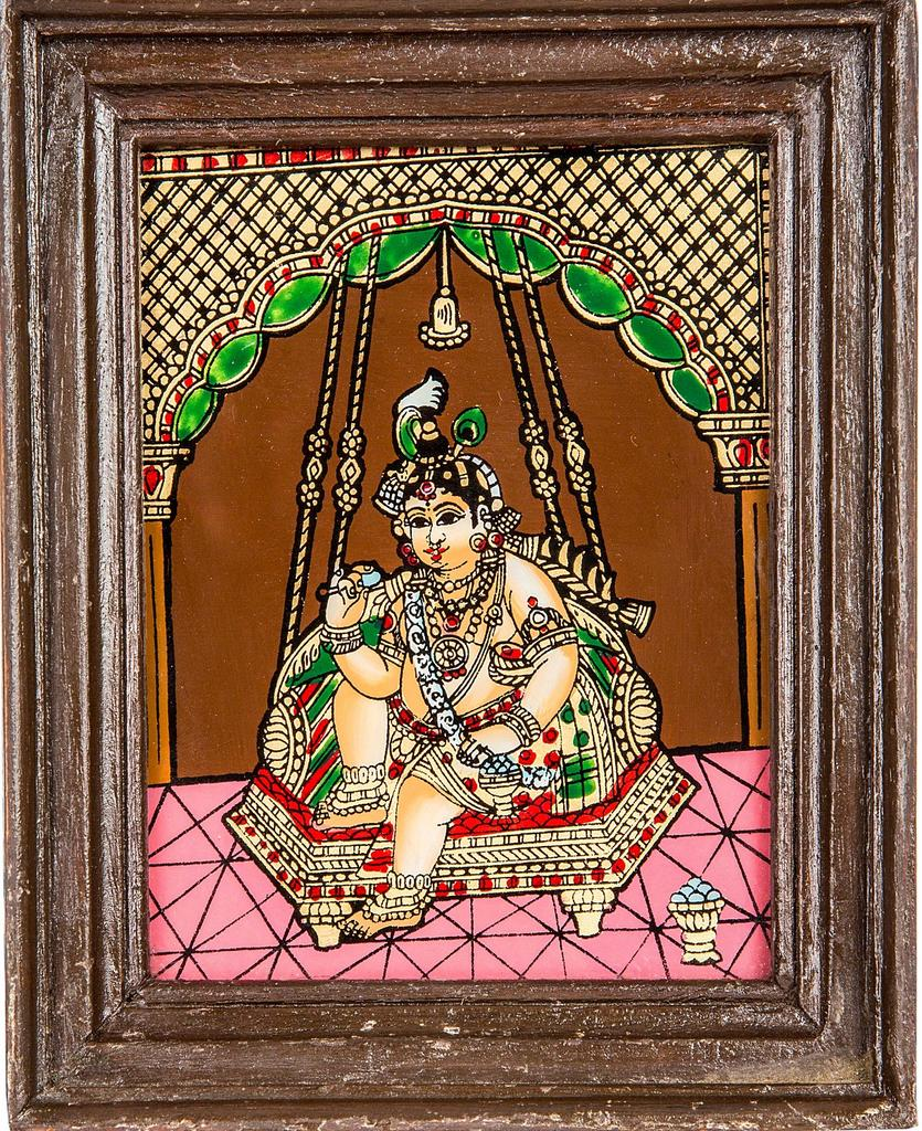Mangala Art Oonjal krishna Tanjore Glass Painting, Size:5x4inches, Color:Multi
