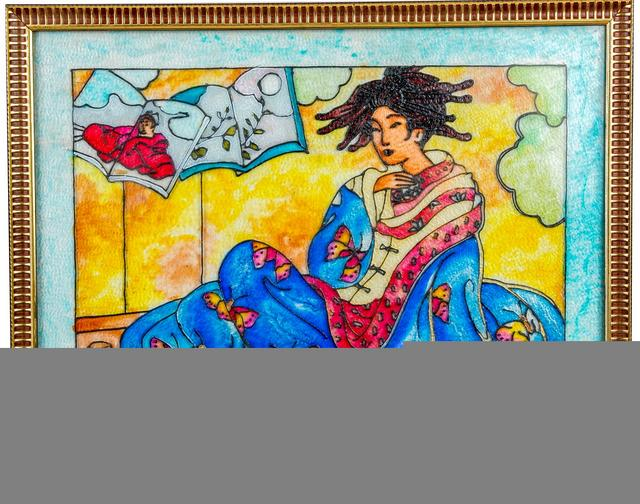 Mangala Art Lady Tanjore Glass Painting, Size:20x16inches, Color:Multi