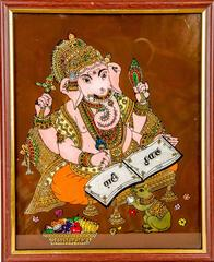 Mangala Art Ganesha Tanjore Glass Painting, Size:8x10inches, Color:Multi