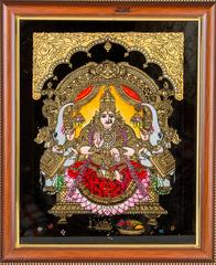 Mangala Art Gajalakshmi Tanjore Glass Painting, Size:8x10inches, Color:Multi