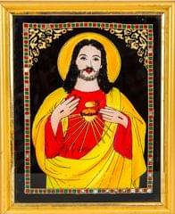Mangala Art Jesus Tanjore Glass Painting, Size:8x10inches, Color:Multi