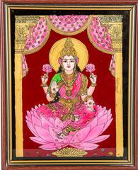 Mangala Art Lakshmi Tanjore Glass Painting, Size:8x10inches, Color:Multi