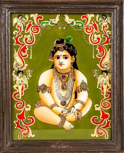 Mangala Art Baby Krishna Tanjore Glass Painting, Size:8x10inches, Color:Multi
