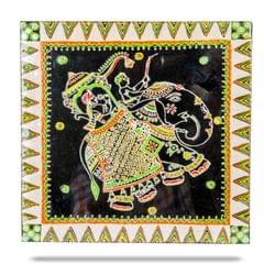 Mangala Art Elephant Warli Gurjari Art Work, Size:12x12inch, Color:Multi