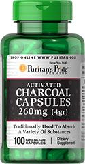 CHARCOAL (ACTIVATED) 260 MG / 100 CAPSULES / ITEM #003680