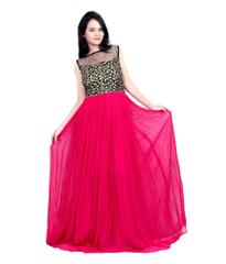 Pink Color Georgette Embroidered Designer Gown_