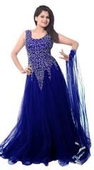 Dark Blue Color Net Embroidred Designer Gown_KDN242