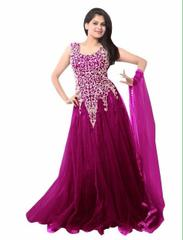 Wine Color Net Embroidred Designer Gown_KDN245