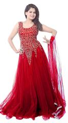 Red Color Net Embroidred Designer Gown_KDN247