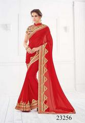 Red Colored Pure Silk Embroidered Saree