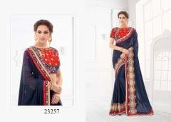 Navy Blue Colored Pure Silk Embroidered Saree