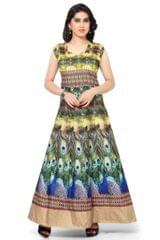 Multi color Digital Printed Benglori Silk Goun