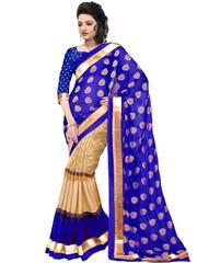 Blue Color Bhagalpuri Silk With Foil Printed Saree