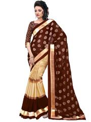 Brown Color Bhagalpuri Silk With Foil Printed Saree