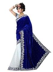 Blue And White Color Embroidered Velvet And Brasso Designer Saree