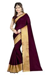 Polly Cotton Purple Color Plain Saree