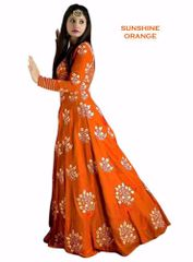 Orange Color Banglori Silk Embroiderd Designer Gown