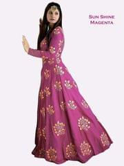 Pink Color Banglori Silk Embroiderd Designer Gown