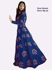 Navy Blue Color Banglori Silk Embroiderd Designer Gown