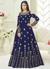 Blue Colour Embroidered Benglori Silk Designer Goun