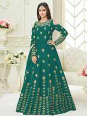 Green Colour Embroidered Benglori Silk Designer Goun