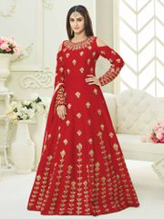 Red Colour Embroidered Benglori Silk Designer Goun