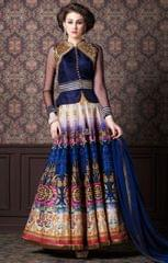 Multicolor Colour Embroidered Benglori Silk Designer Goun