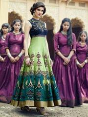 Multicolour Banglori Satin Silk Designer Gown