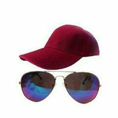 BUNDLE OF A RED CAP AND RAINBOW SUNGLASSES