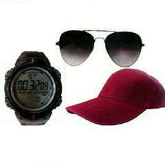 BUNDLE OF DIGITAL WATCH, CAP AND SUNGLASSES - BLACK, RED