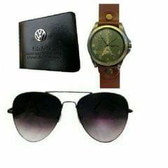 WALLET, WATCH AND BLACK SUNGLASSES