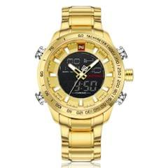 NAVI FORCE GOLD WATCH WITH BOTH DIGITAL AND ANALOG IN GOLD COLOUR