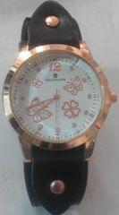 Butterfly Black Leather Ladies Watch