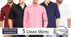 Branded combo of 5 high quality LINEN SHIRTS