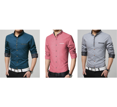 Branded Mens Combo of 3 Partywear pure linen Shirts