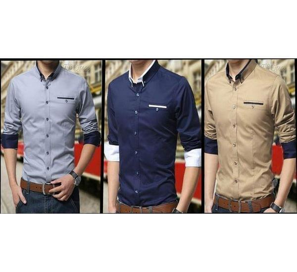 BRANDED COMBO OF 3 SLIM-FIT PARTY WEAR PREMIUM COTTON SHIRTS