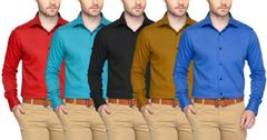 Branded  Set Of 5 Pure Shirts