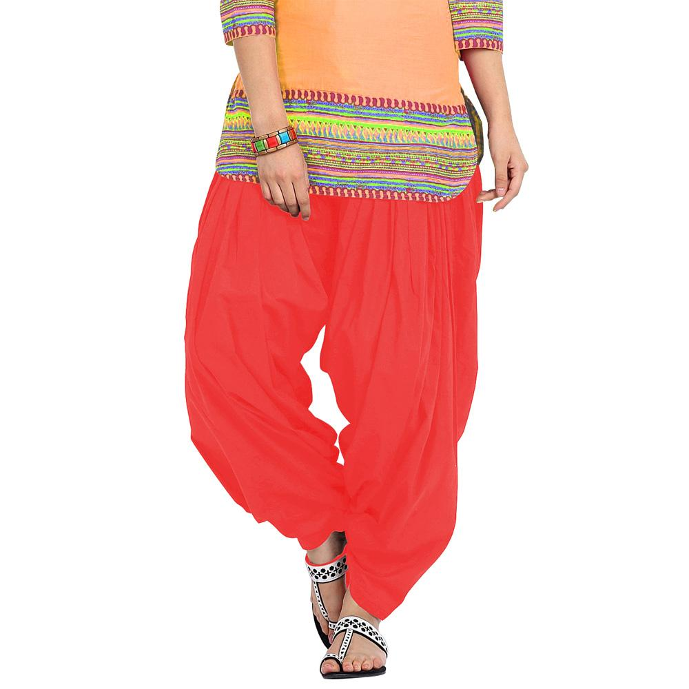 BrandTrendz Red Cotton Patiala Salwar