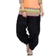 BrandTrendz Black Cotton Patiala Salwar