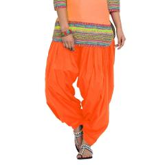 BrandTrendz Orange Cotton Patiala Salwar