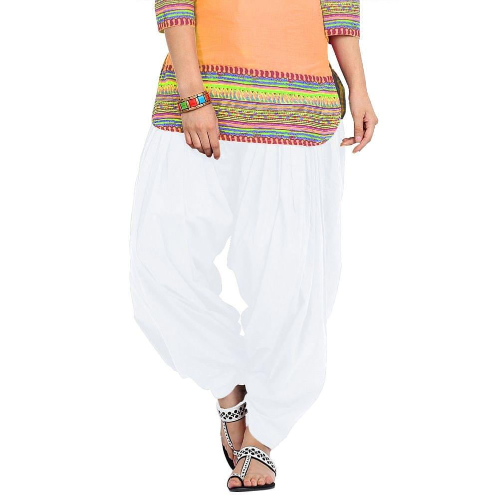 BrandTrendz White Cotton Patiala Salwar
