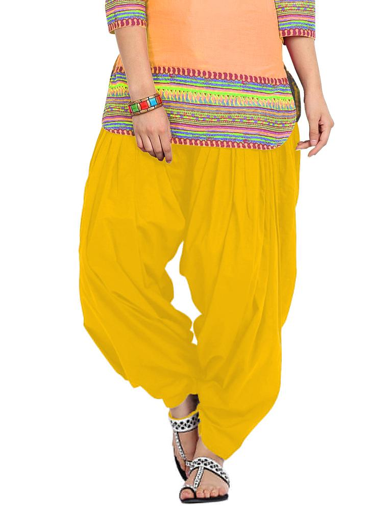 BrandTrendz Yellow Cotton Patiala Salwar
