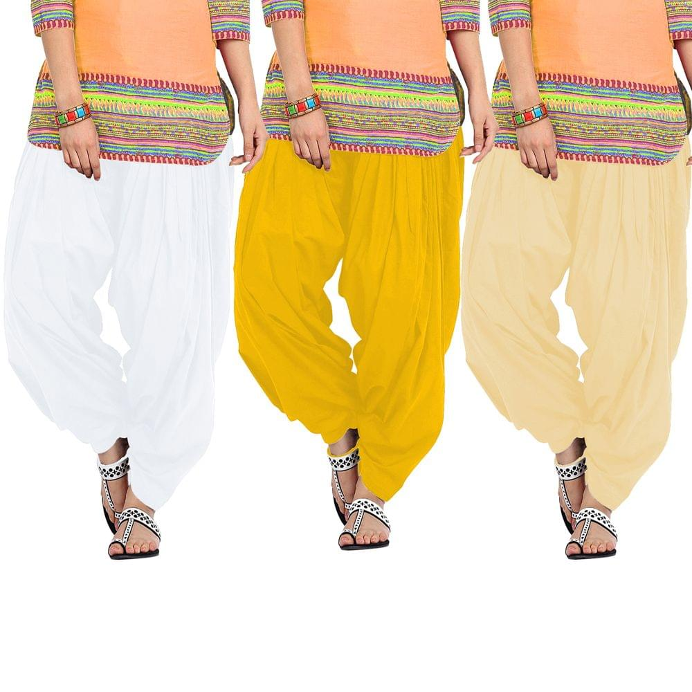 BrandTrendz Set of 3 Cotton Patiala Salwar